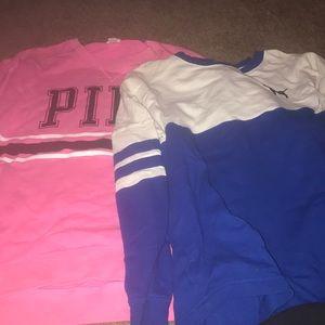 Set of 2 women's large VS pink sweatshirts
